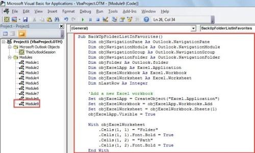 VBA Code - Back Up Folder List of Favorites Section to an Excel Sheet
