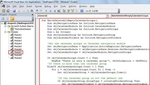 VBA Code - Batch Delete All Empty Calendar Groups