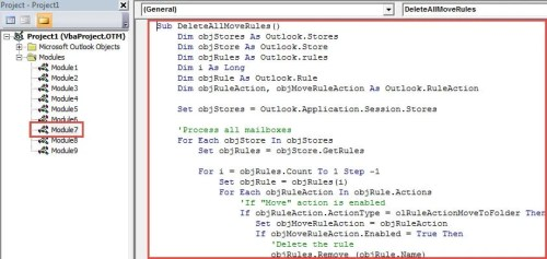 """VBA Code - Batch Delete All Outlook Rules Performing """"Move"""" Action"""