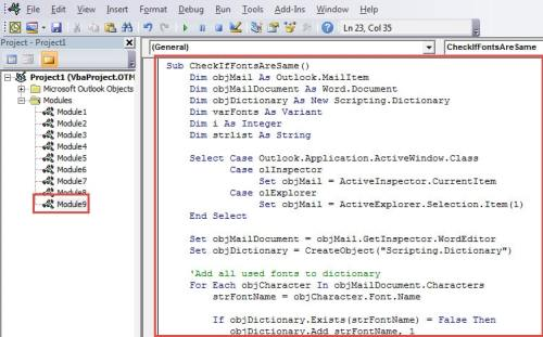 VBA Code - Check If Only One Font Is Used Across the Whole Email