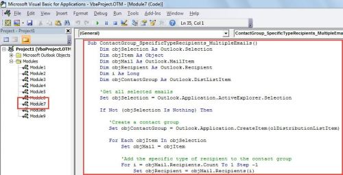 VBA Code - Create a Contact Group from a Specific Type of Recipients in Multiple Emails