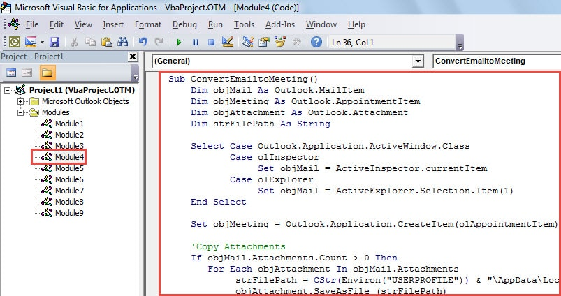 VBA Code - Convert an Email to a Meeting Invitation