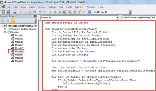 VBA Code - Quickly Count Contacts by Year of Birth