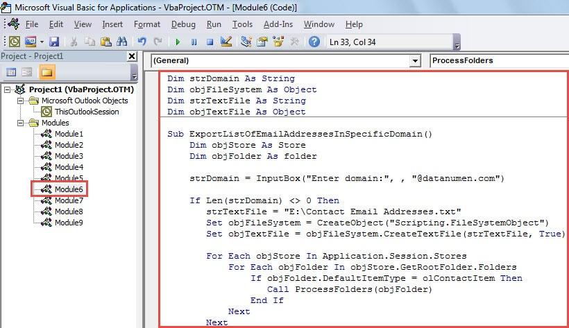 VBA Code - Export the Contact Email Addresses in a Specific Domain