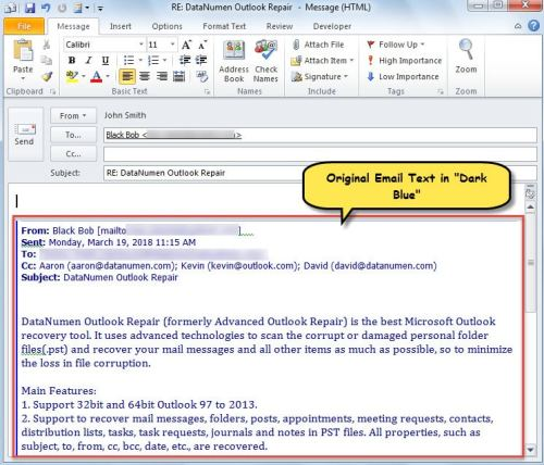 """Original Email Text in """"Dark Blue"""" in Reply"""