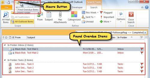 Found Overdue Items through Macro Button
