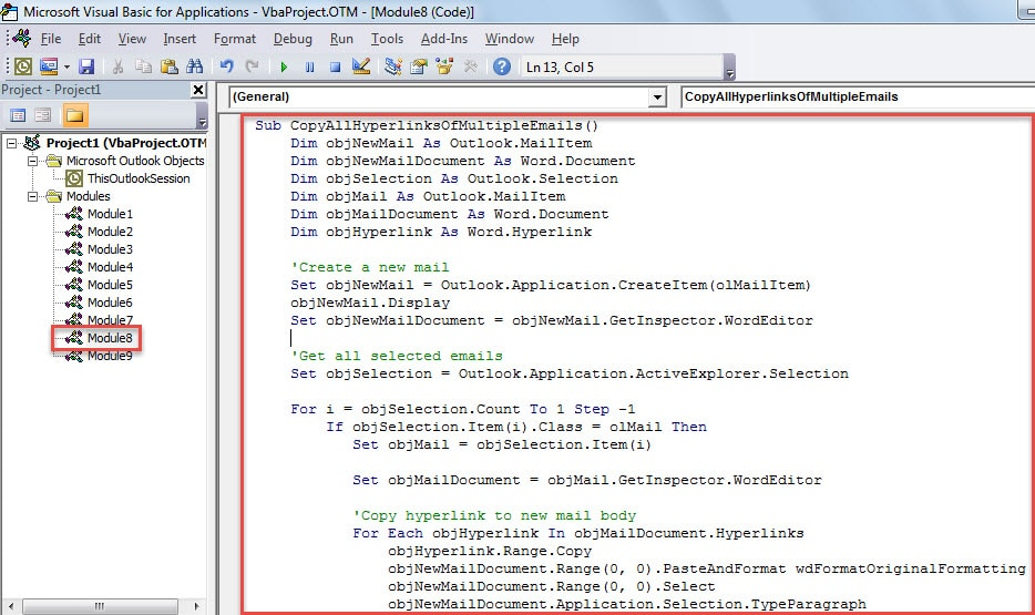VBA Code - Batch Copy All Hyperlinks in Multiple Emails to a New Email