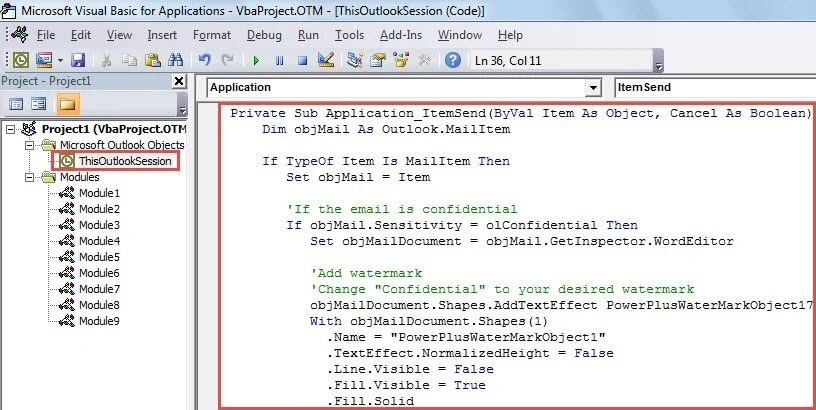 VBA Code - Auto Add Watermark to Confidential Emails before Sending Them