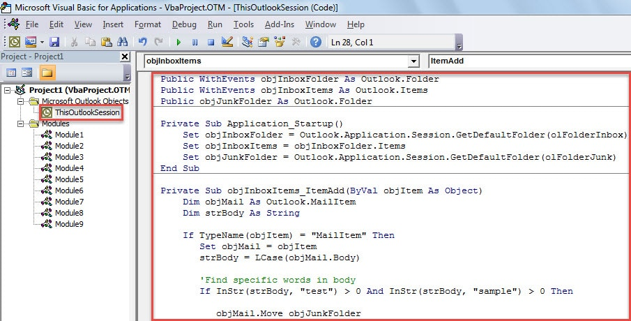 VBA Code - Auto Block the Incoming Emails whose Bodies Contain All Specific Keywords