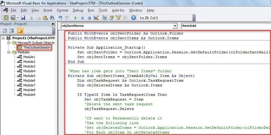 VBA Code - Auto Delete All Sent Task Requests