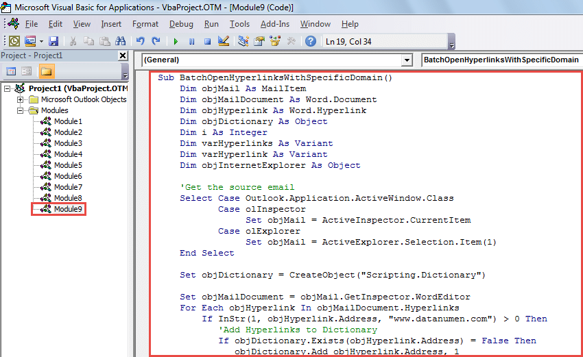VBA Code - Batch Open All Hyperlinks with a Specific Domain in Email