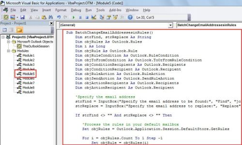 VBA Code - Batch Replace One Email Address with Another in All Rules