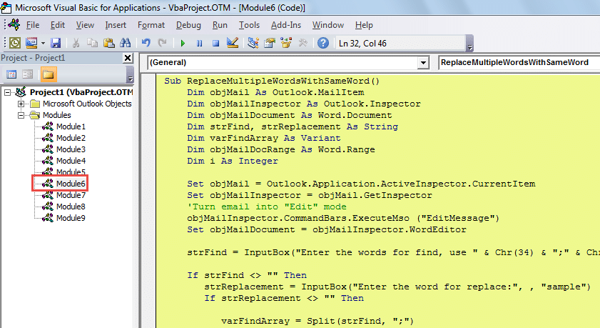 VBA Code - Batch Replace Different Text with Same One in Email