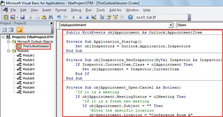VBA Code - Auto Set the Default Location for Meetings You Organize