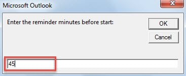 Enter the Reminder Minutes Before Item Start