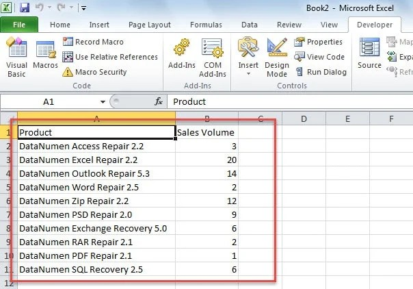 Consolidated Data in New Excel Workbook