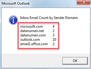 Message Prompting Email Counts