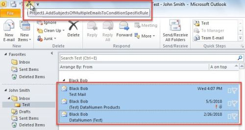 Run Macro on Selected Mails
