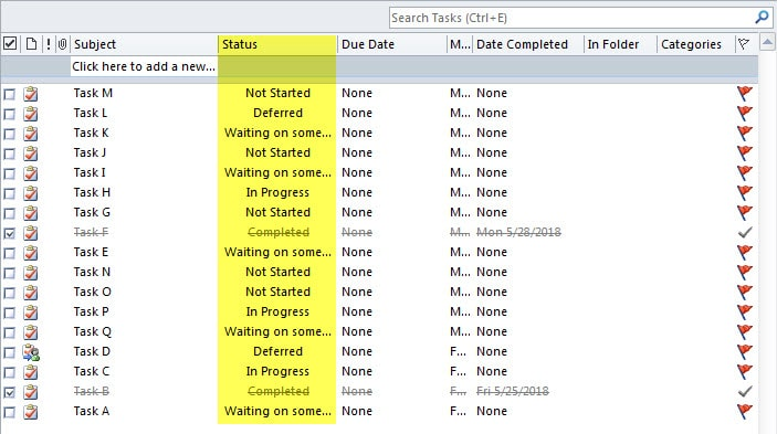 Tasks in Different Statuses