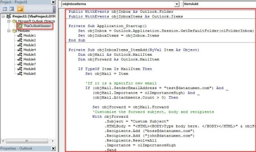 VBA Code - Auto Forward Specific Incoming Emails with Custom Subject & Body