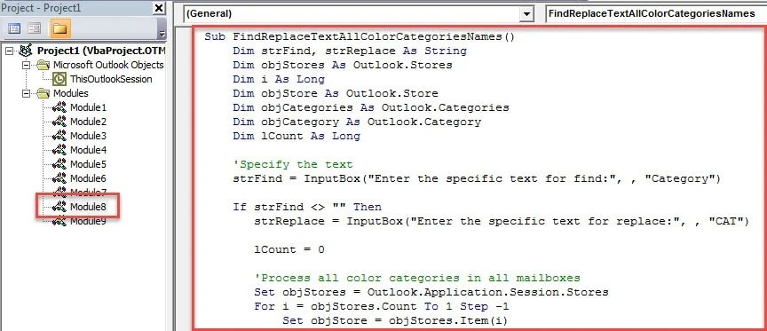 VBA Code - Batch Find and Replace Specific Text in All Color Category Names