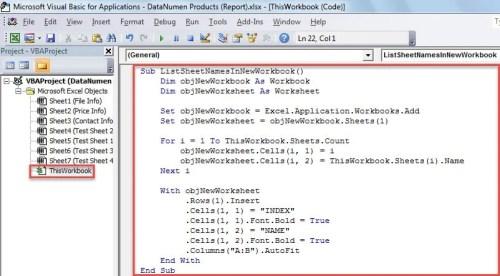 VBA Code - List Sheet Names