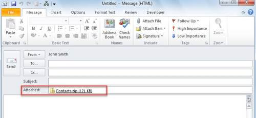 Attached ZIP File in Email