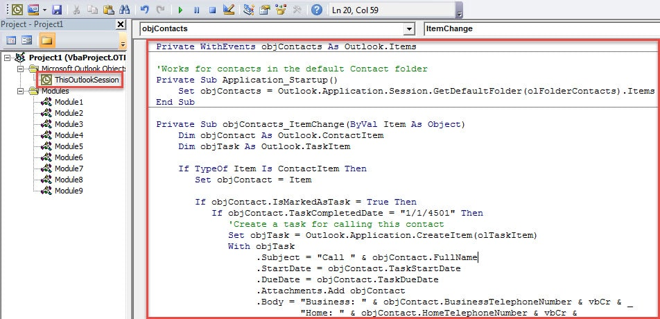 VBA Code - Auto Create a Task to Call the Contact Person Later when Flagging a Contact