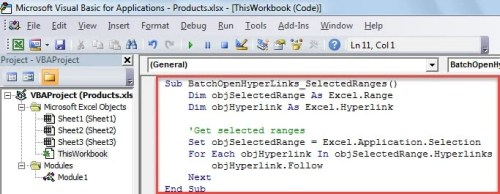 VBA Code - Batch Open Hyperlinks in Selected Ranges
