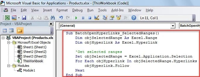 VBA Code - Batch Open Hyperlinks in Selected Ranges