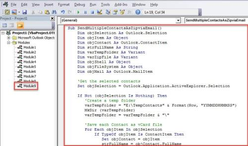 VBA Code - Pack & Attach Multiple Contacts to an Email