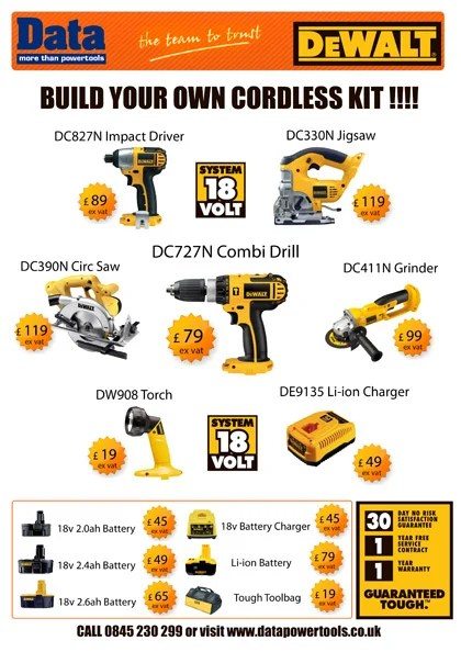 DeWALT Build your own cordless power tool kit