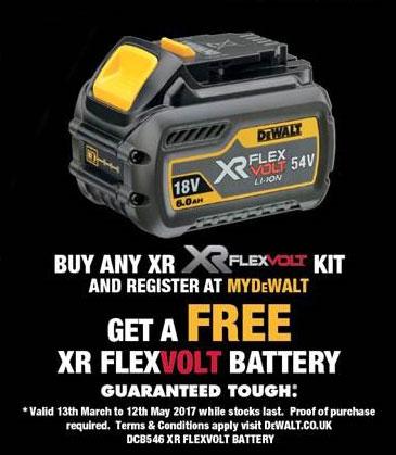 FREE 3rd DeWALT FLEXVOLT Battery worth £114! | Data Powertools Ltd