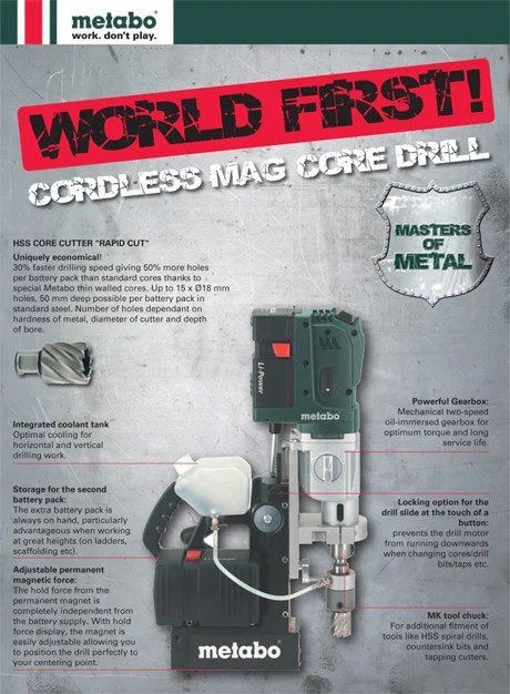 World First ! – Cordless Metal Core Magnetic Drilling Technology