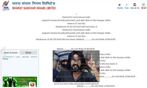 BSNL website hacked by Anonymous India
