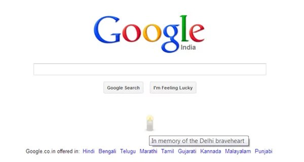 "Google India Pays Tribute ""In memory of the Delhi brave heart"""