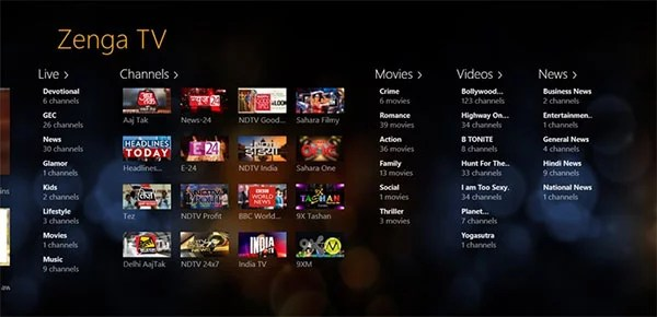 Live HD Mobile TV and VOD On Windows 8 with ZengaTV App