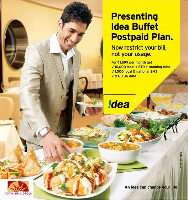 Idea Cellular 'buffet plan' for Postpaid Customers having high voice and data usage