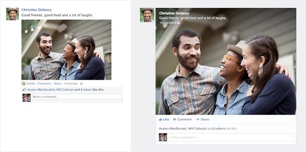 Facebook New Feed - Before and After layout