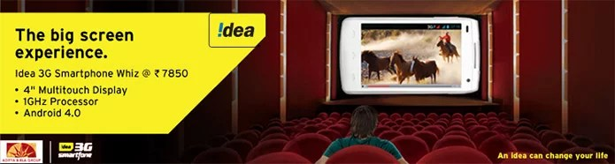 Idea Cellular unveils 'Whiz' Smartphone with 3G, 4inch Display and 1GHz Dual-core CPU at Rs 7850