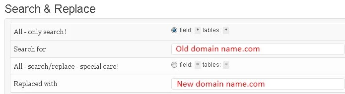 Search and Replace Plugin domain change