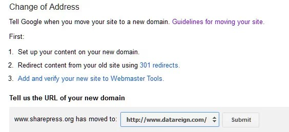 Google webmaster domain change