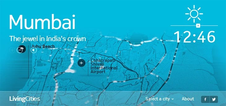 Nokia Here LivingCities - Mumbai city Traffic visualized over 24 hours