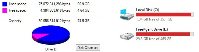 Low Disk Space warning on Windows drive [SOLVED]