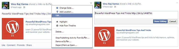 Now Edit your Post after they have been Published on Facebook