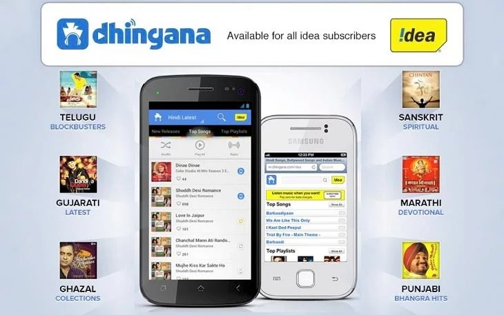 Dhingana tie up with Idea Cellular to offer Unlimited Music Downloads without Data Charges