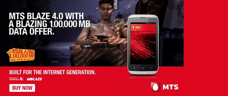 MTS Blaze 4.0 Smartphone with 1,00,000 MB data