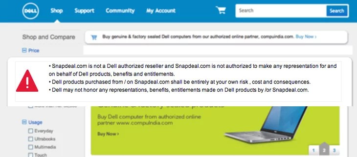 Dell takes on Snapdeal - Warns users Buying its products from the Shopping Site