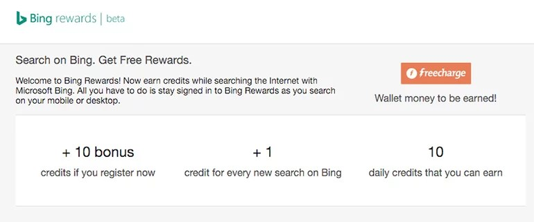 Bing Rewards now available in India - Search on Bing and Get FreeCharge Coupons