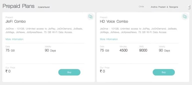Reliance Jio 4G HD combo plans -Prepaid & Postpaid